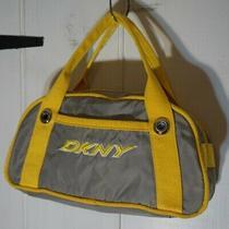 Dkny Small Handbag Purse Silver Mini Bag Vintage Yellow 90s Y2k Zip Embroidered Photo