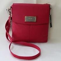 Dkny Soft Leather W/logo Plaque Messenger Cross Body Shoulder Bag - Pink Photo