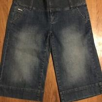 Dkny- Stretch Denim Wide Leg Cropped Distressed Jeans- Size 5 -Inseam 16.5 In.  Photo