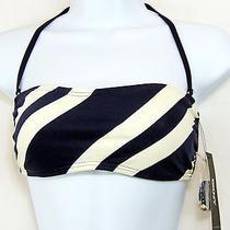 Dkny Swimwear Deco Navy Stripe Bandeau Bikini Top Size Petite  New Retail 52 Photo