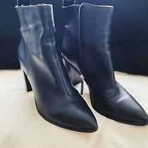 Dkny Sz 9.5 Womens Black Ankle Booties Genuine Leather Monogram 3.5in Heel Photo