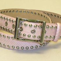 Dkny Sz Large Pale Pink Snakeskin Leather Belt With Silver Studs/buckle Photo