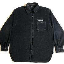 Dkny Tech Fleece Button Up Longsleeve Shirt Dark Navy Blue Size Mens Large  Photo