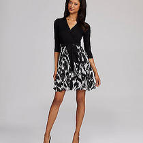 Dkny Tie-Waist Print-Skirt Dress Black/white Size M Photo