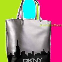Dkny Tote Shoulder Hand Bag Large Silver Bronze Beige Black Faux Leather Nwt Photo