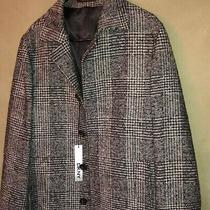 Dkny Unisex Wool Blend Tweed Winter Trench Coat Size 38 Photo