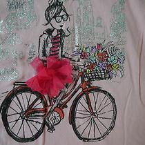 Dkny v Neck T Shirt Girls Size 6 Pink Tutu Girl Riding Bicycle Flower Basket  Photo