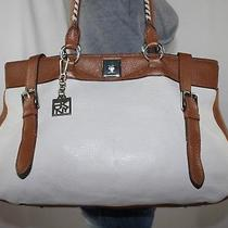 Dkny Very Lrg Offwhite Brown Leather Shoulder Hobo Tote Satchel Slouch Purse Bag Photo