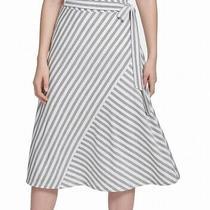 Dkny Women's a-Line Skirt Gray Size Xs Stripe Tie-Waist Midi Wrap 79 249 Photo