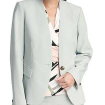Dkny Women's Blazer Green Size 4 Collarless Single Button Seamed 119- 026 Photo