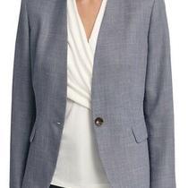 Dkny Women's Blazer Navy Blue Size 8 Denim Collarless Single-Button 129 069 Photo