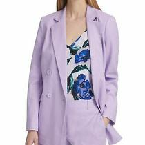 Dkny Women's Blazer Purple Size 4 Double Breasted Linen Blend Notched 139 508 Photo