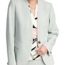 Dkny Women's Blazer Stormy Blue Gray Size 6 Collarless Single Button 119 527 Photo