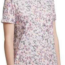 Dkny Women's Blouse Black Pink Size Xl Sequin Printed Colorblock Tee 69 028 Photo