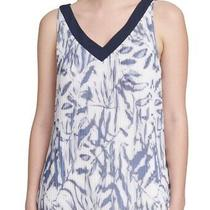 Dkny Women's Blouse Blue Size Large L Floral Pleated v-Neck Tank 69 527 Photo