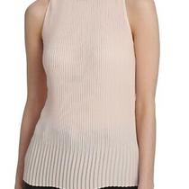 Dkny Women's Blouse Blush Pink Size Small S Accordian Pleat High Neck 59- 023 Photo