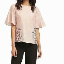 Dkny Women's Blouse Blush Pink Size Xl Floral-Print Flare-Sleeves 69 441 Photo