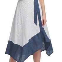 Dkny Women's Blue Size 10 Asymmetrical Hem Sriped Indigo Skirt 89- 253 Photo