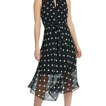 Dkny Women's Dress Black Size 10 Shift Polka Dot Sash Keyhole Chiffon 129 209 Photo