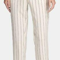 Dkny Women's Dress Pants White Ivory Size 0 Striped Belted Stretch 99- 348 Photo