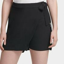 Dkny Women's Dress Shorts Deep Black Size 4 Tie-Front Wrap High Rise 79 502 Photo