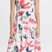 Dkny Women's Dress White Size 6 a-Line Floral Printed v-Neck Midi 129- 152 Photo