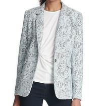 Dkny Women's Jacket Blue Size 14 Notch Bonded Lace One-Button Blazer 149 107 Photo