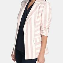 Dkny Women's Jacket Pink Size 18 Striped One-Button Textured Blazer 139 523 Photo