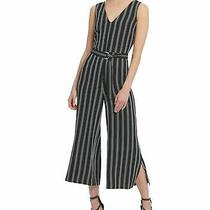 Dkny Women's Jumpsuit Black Size 14 Stripe Print Cropped Belted 129 045 Photo