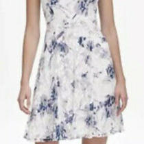 Dkny Women's Lace Dress Fit Flare White Purple Blue Size 10 Floral  139 Photo