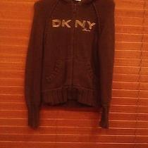 Dkny Women's Med Brown  Cable Knit Zip Hooded Sweater Jacket Photo