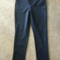 Dkny Women's Mid Rise Pull on Silhouette Ponte Pants Blue Black Weave Large L Photo