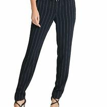 Dkny Women's Pants Navy Blue Size Large L Pinstriped Pull on Tie Waist 99 599 Photo