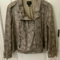 Dkny Womens Plus 3x Snakeskin Pattern Bomber Style Jacket Tan/black Nwt/149 Photo