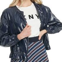 Dkny Women's Rain Jacket Midnight Blue Size Xs Shiny Bomber Zip Front 139 462 Photo