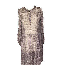 Dkny Women's Sheer Fit and Flare With Bell Sleeves Y2k 90's Silk Dress Size 14   Photo