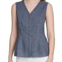 Dkny Women's Shirt Blue Size Medium M v Neck Denim Button Front a-Line 59 155 Photo