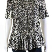 Dkny Women's Short Sleeve Blouse Gray White Gold Silk Size 2 Photo