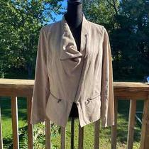 Dkny Women's Size Large Light Tan Zip Front Faux Suede Bomber Jacket Photo