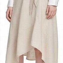 Dkny Women's Skirt Beige Size 10 Hankerchief Hem Tie Waist Linen 89 506 Photo