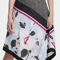 Dkny Women's Skirt Black Blue Size 6 Mixed Print Midi Asymmetrical 79 545 Photo