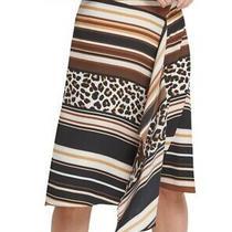 Dkny Women's Skirt Black Size 6 Stripe Cheetah Print Asymmetrical 79 470 Photo