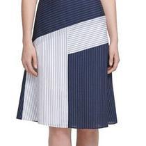 Dkny Women's Skirt Blue Size 14 Pindot Striped Midi Pieced a-Line 79 318 Photo