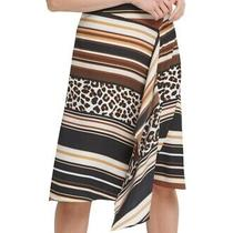 Dkny Women's Skirt Brown Size 14 Asymmetrical Striped Cheetah Print 79 559 Photo