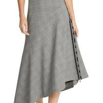 Dkny Women's Skirt Gray Size 14 Houndstooth Asymmetrical Logo Trim Midi 99 603 Photo