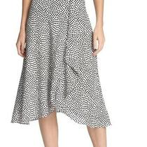 Dkny Women's Skirt White Size 8 a-Line Dotted Ruffle Front Midi 89 145 Photo