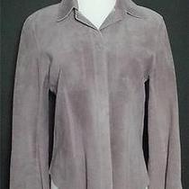 Dkny Women's Suede Jacket Coat Shirt Top Blouse Dusty Lavender Grey Size 12 Photo