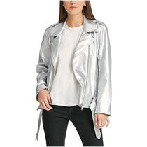 Dkny Women's Zippered Pocketed Motorcycle Jacket Silver X-Small Photo