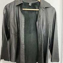 Dkny Womens Black 100% Unlined Leather Fitted Blazer Jacket Hook & Eye Sz 6 Flaw Photo