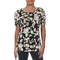 Dkny Womens Black Ruched Short Sleeve Shirt Blouse Top S Bhfo 2117 Photo